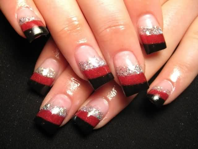 Black Red And Silver French Tip Nail Art Design