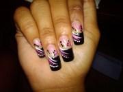 cool black french tip nail art