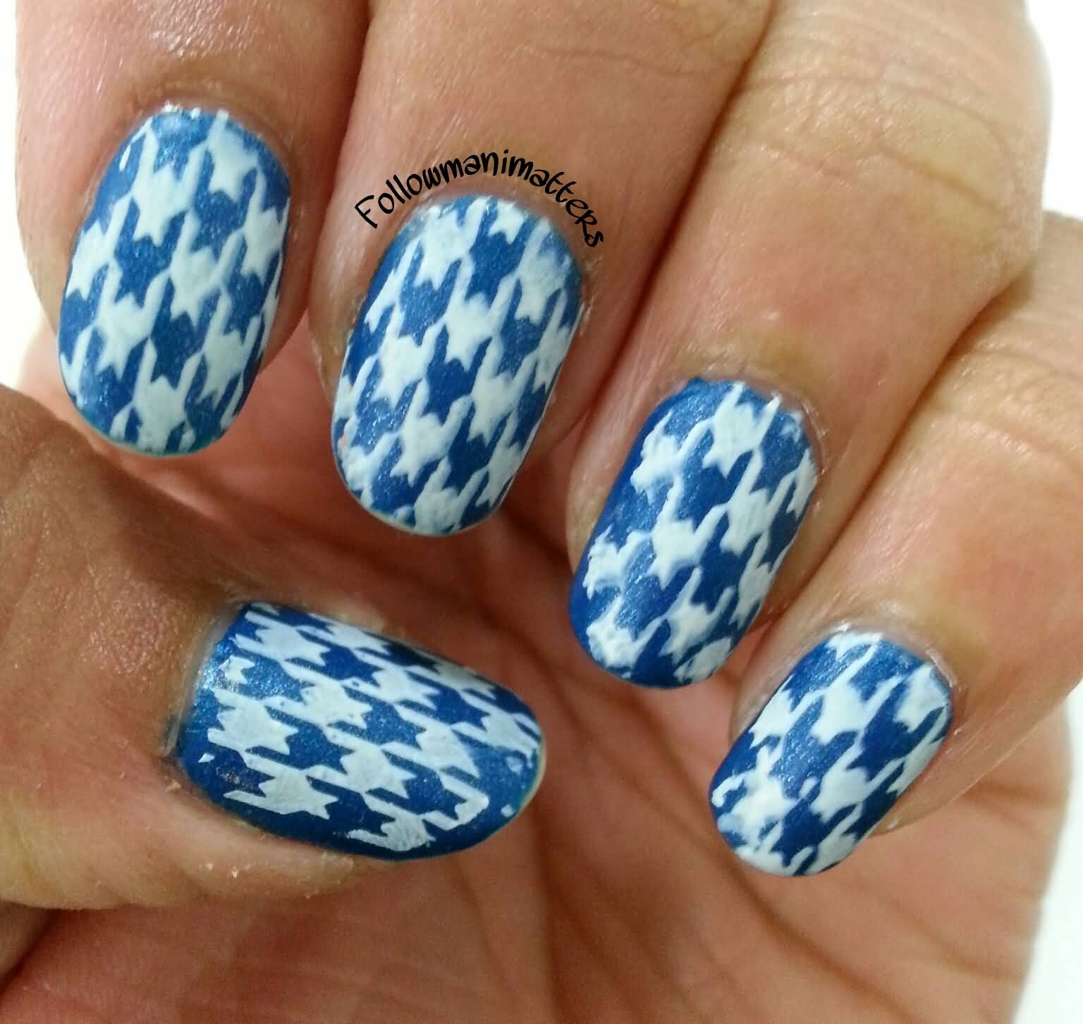 Blue And White Houndstooth Nail Art Design Idea