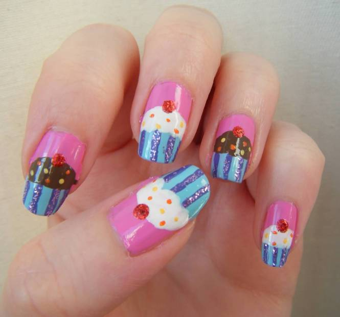 Wonderful Cupcake Nail Art Design Ideas For S Pink And Blue Designs