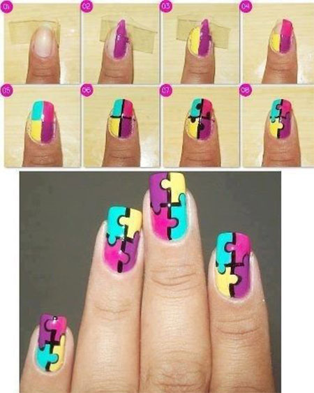 Multicolor Puzzle Pattern Nail Art Tutorial