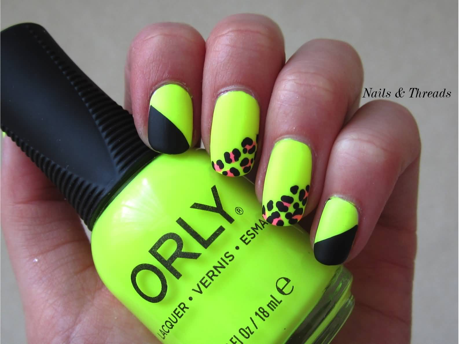 Neon Green Nails With Pink Leopard Print Nail Art