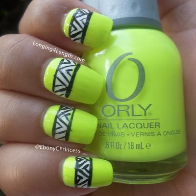 Neon Green Tribal Nail Art Design