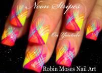 Neon Stripes Nail Art Design Idea For Trendy Girls