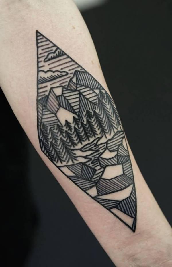 geometric mountains tattoos