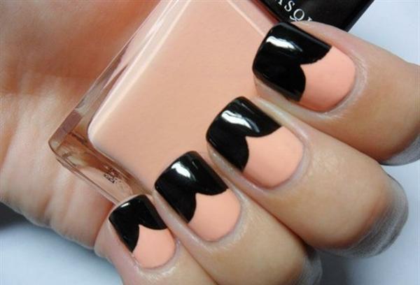 Peach And Black Chevron Design Nail Art