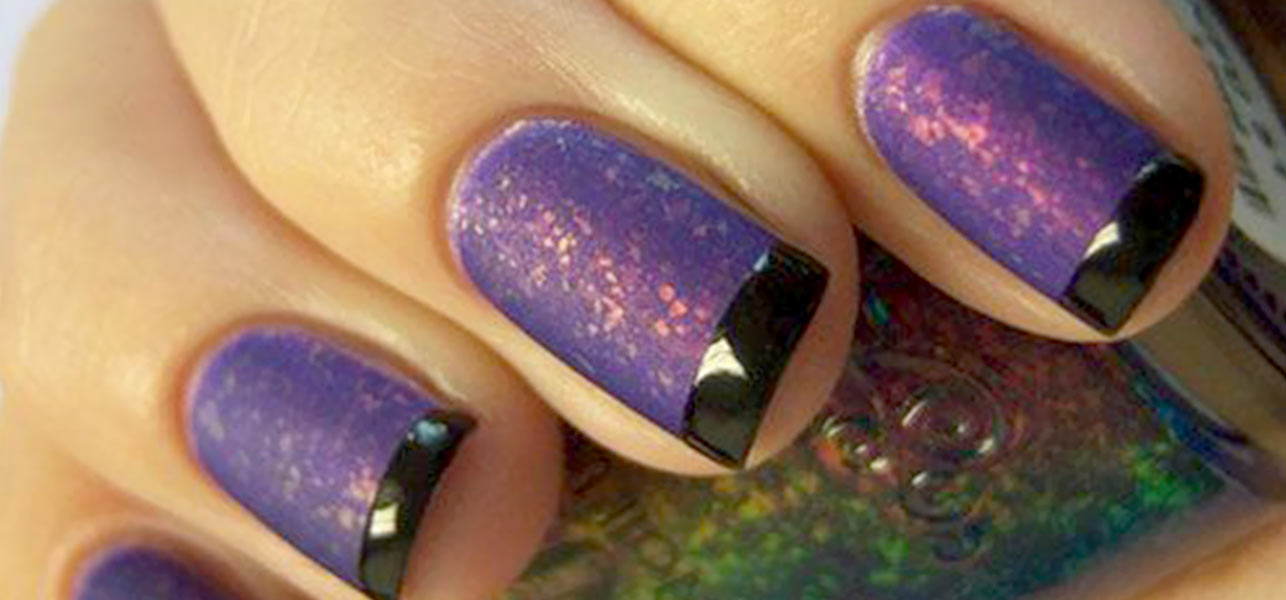 Purple Sparkle Nails With Black Glossy French Tip Nail Art