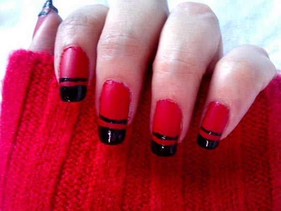 Red Glossy Nails With Black Tip Design Nail Art