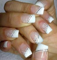 White Diagonal French Tip Wedding Nail Art