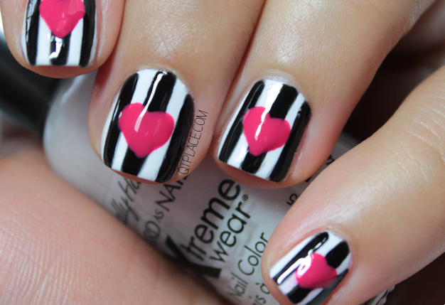 Black And White Stripes Nail Art With Pink Heart Design Idea