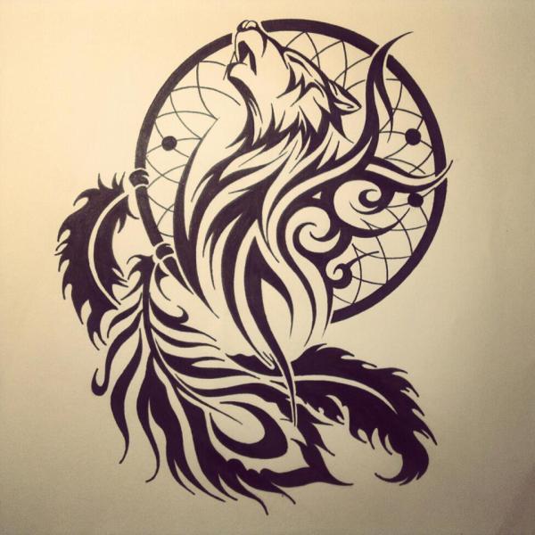 Dream Catcher Tribal Wolf Tattoo Designs