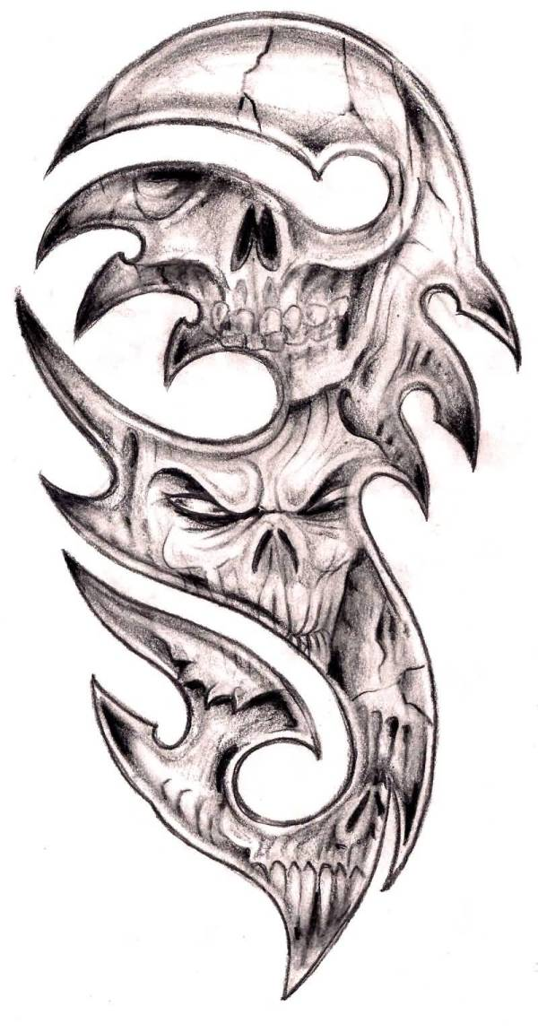 tribal skull tattoos ideas