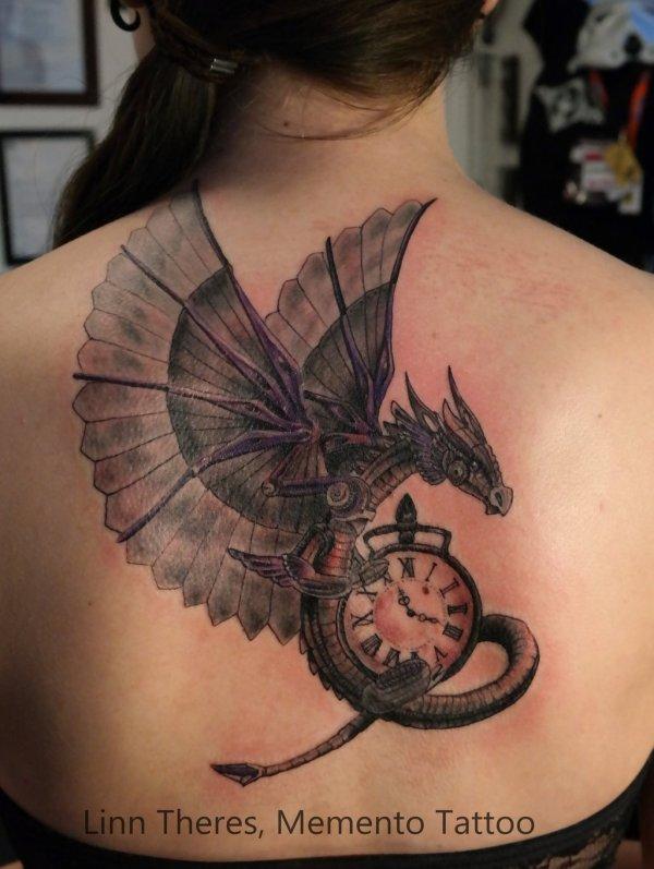 Grey Ink Steampunk Tattoo Left Shoulder