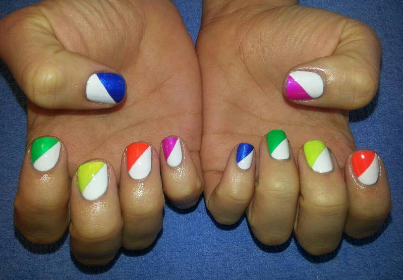 White And Multicolor Diagonal Pattern Nail Art Design Idea