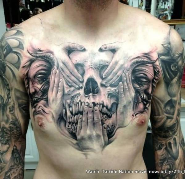 20 Evil Skull Face Tattoos Ideas And Designs