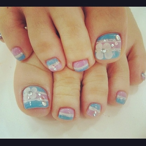 Blue And Pink Nails With Flowers Design Toe Nail Art
