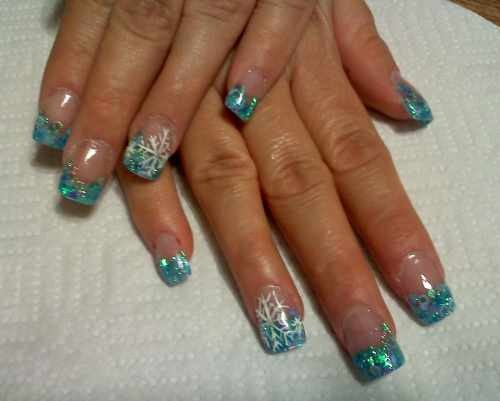 Blue Glitter French Tip And Snowflakes Winter Nail Art