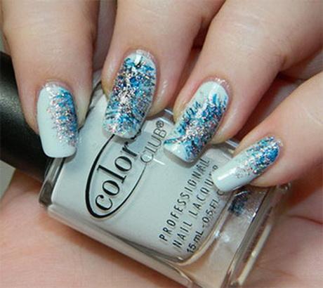 Blue Glitter Winter Nail Art Design Idea