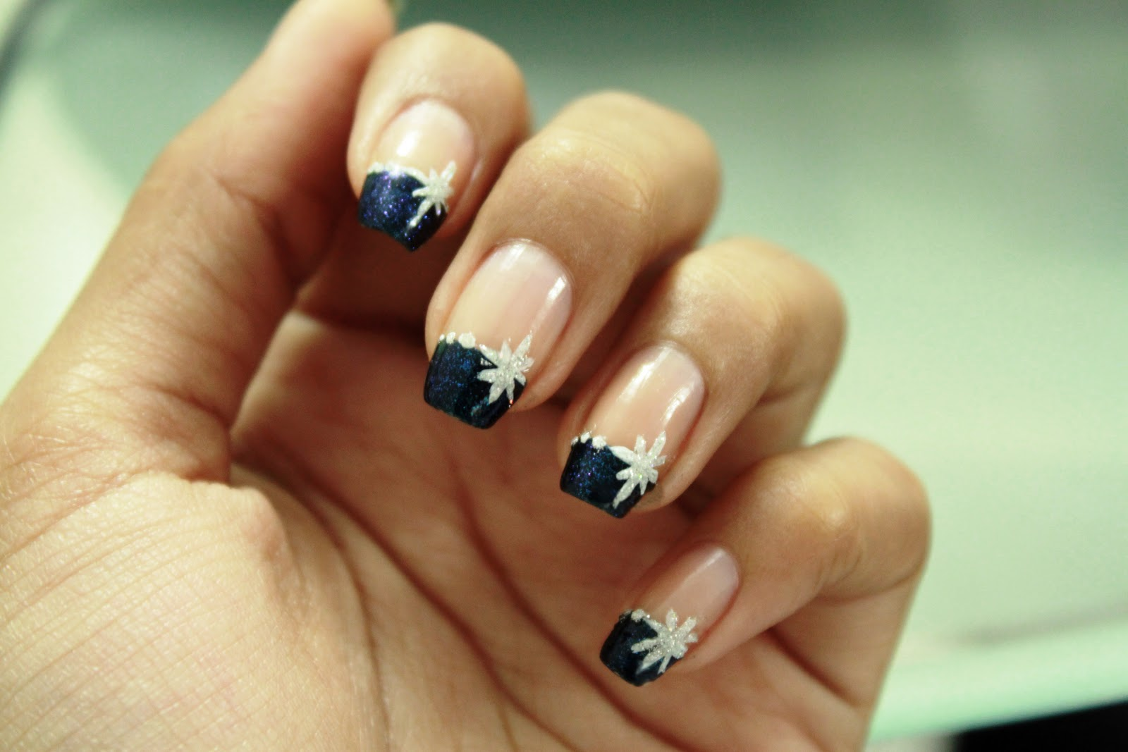 Navy Blue French Tip Glitter With Snowflakes Design Winter Nail Art