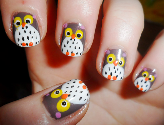 Owl Face Autumn Nail Art Design
