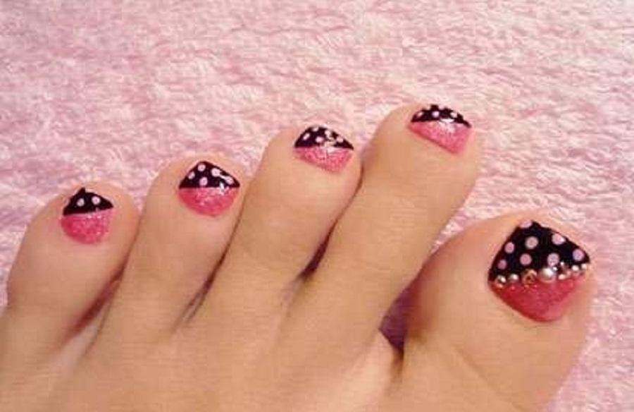 Pink And Black Dots Design Toe Nail Art
