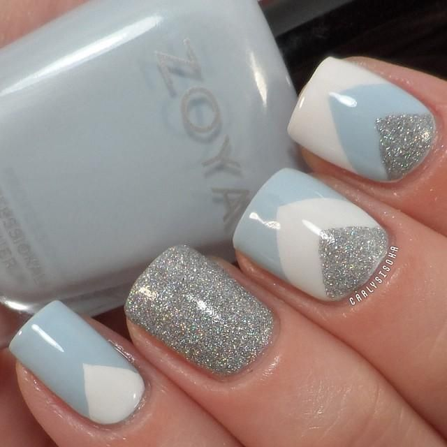 Silver Glitter Gel With Blue And White Chevron Design Winter Nail Art