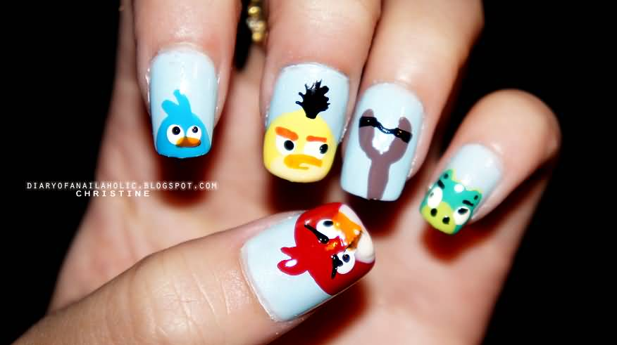 Stella Chuck Pig And Red Angry Birds Nail Art Design