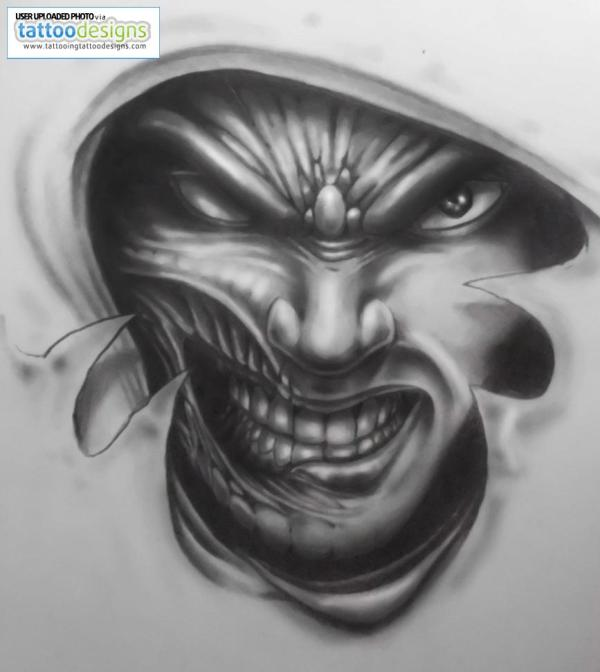 amazing evil tattoo design