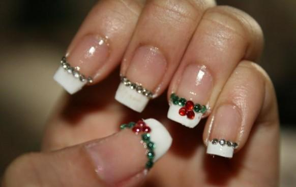 White Tip With Red And Green Rhinestones Design Winter Nail Art