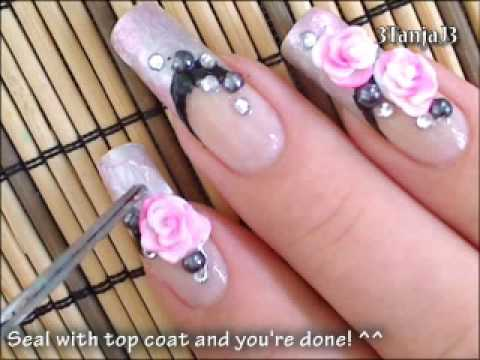 Fl Nail Art Small Meadow On My Fingers Rose Nails