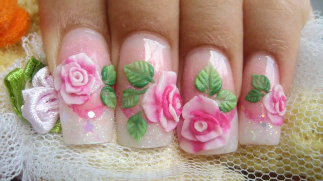Baby Pink 3d Rose Flowers Nail Art