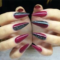 Black And Black Glitter Stiletto Nail Art
