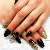 Stiletto Nails Black And Gold | www.imgkid.com - The Image ...