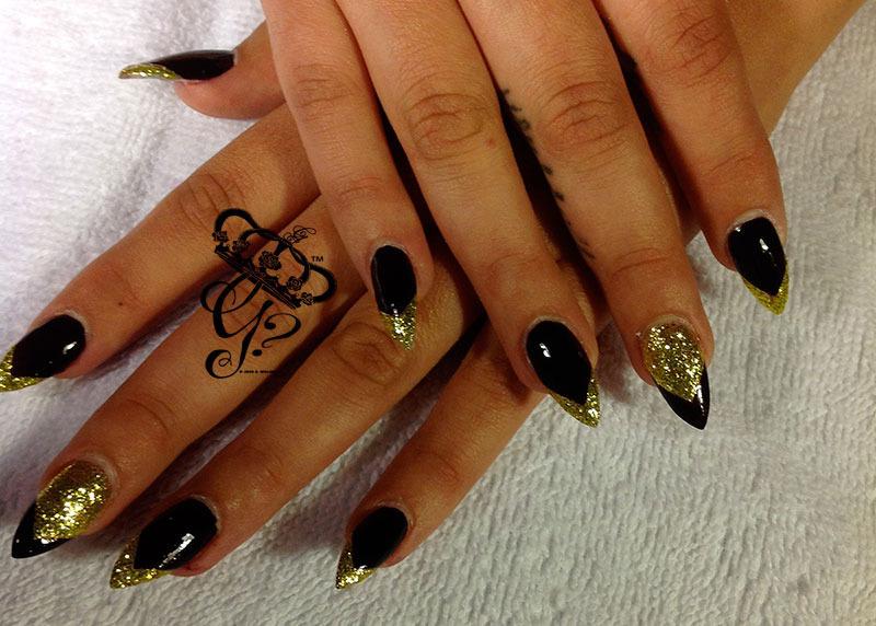 Black And Gold Glitter Tip Sti Nail Art