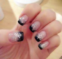 Black Tip And Silver Glitter Nail Design Idea