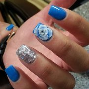 blue and silver nail art
