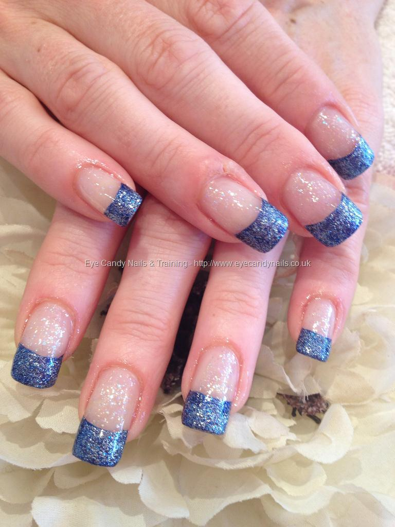 Blue Glitter French Tip Nail Art Design Idea