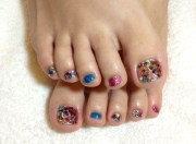toe glitter nail art design