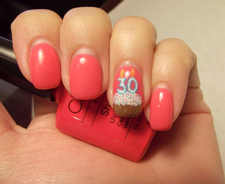 Cute Pink Nails With Accent 30th Birthday Nail Art