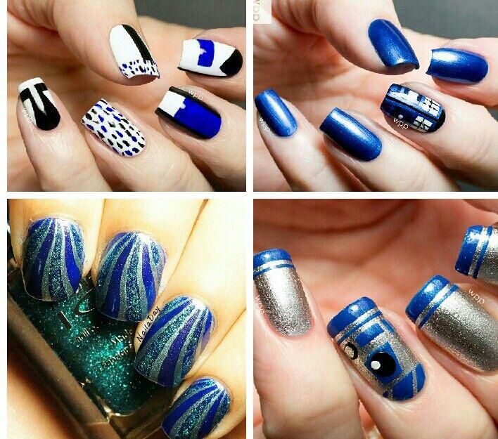 Four Royal Blue Nail Art Design Idea