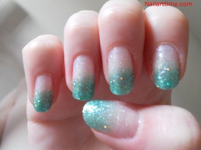 Green Glitter French Tip Nail Design Idea