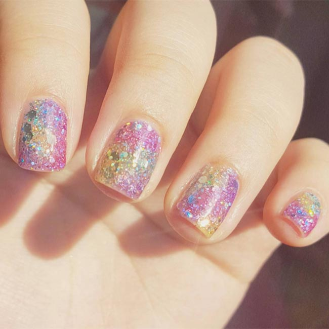 Multicolored Glitter Nail Art