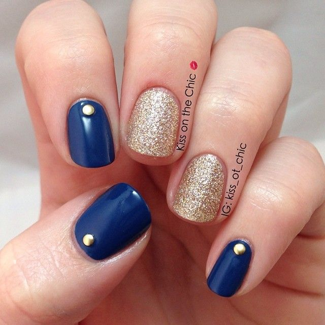 Navy Blue And Gold Glitter Nail Art