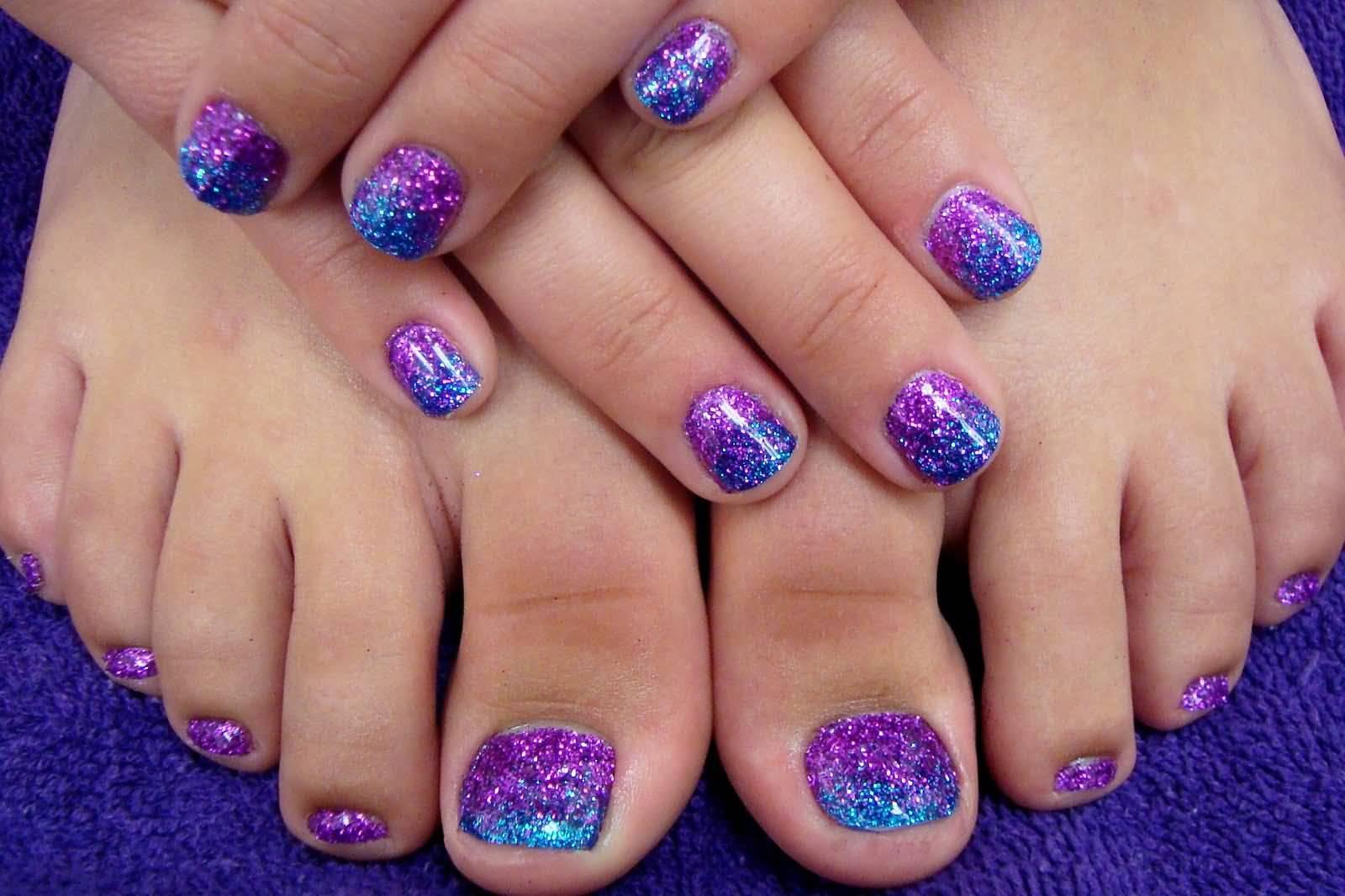 Purple And Blue Glitter Toe Nail Art