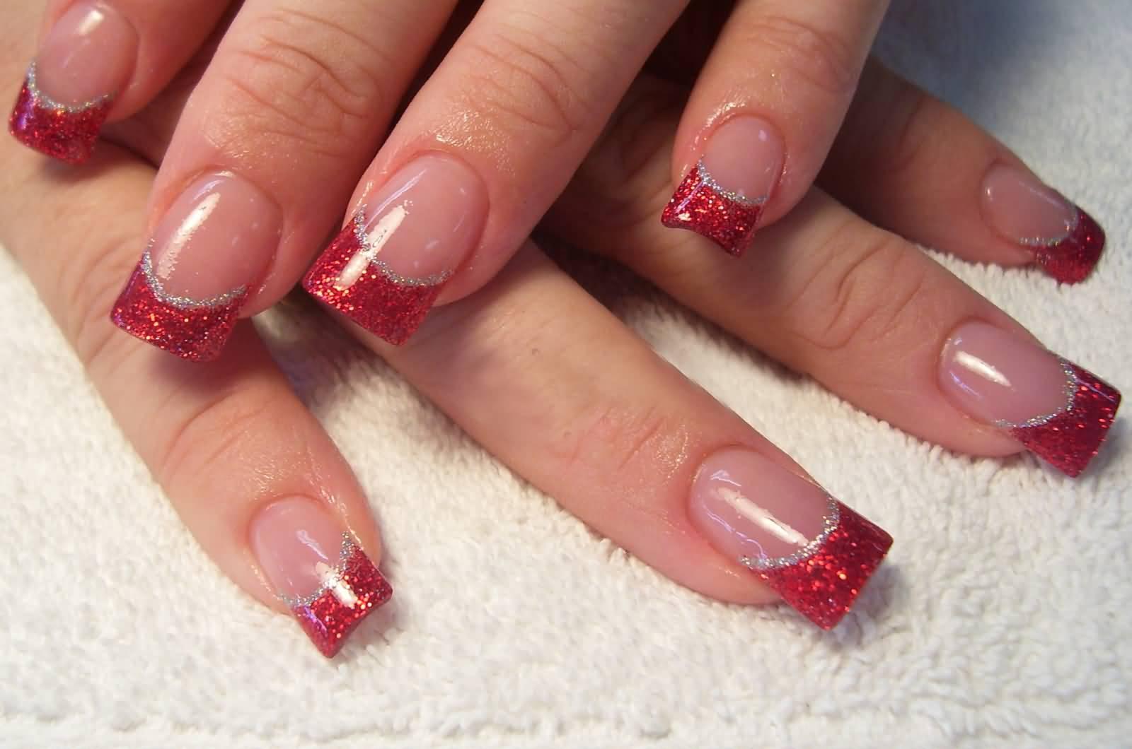 Red Tip Glitter Nail Art