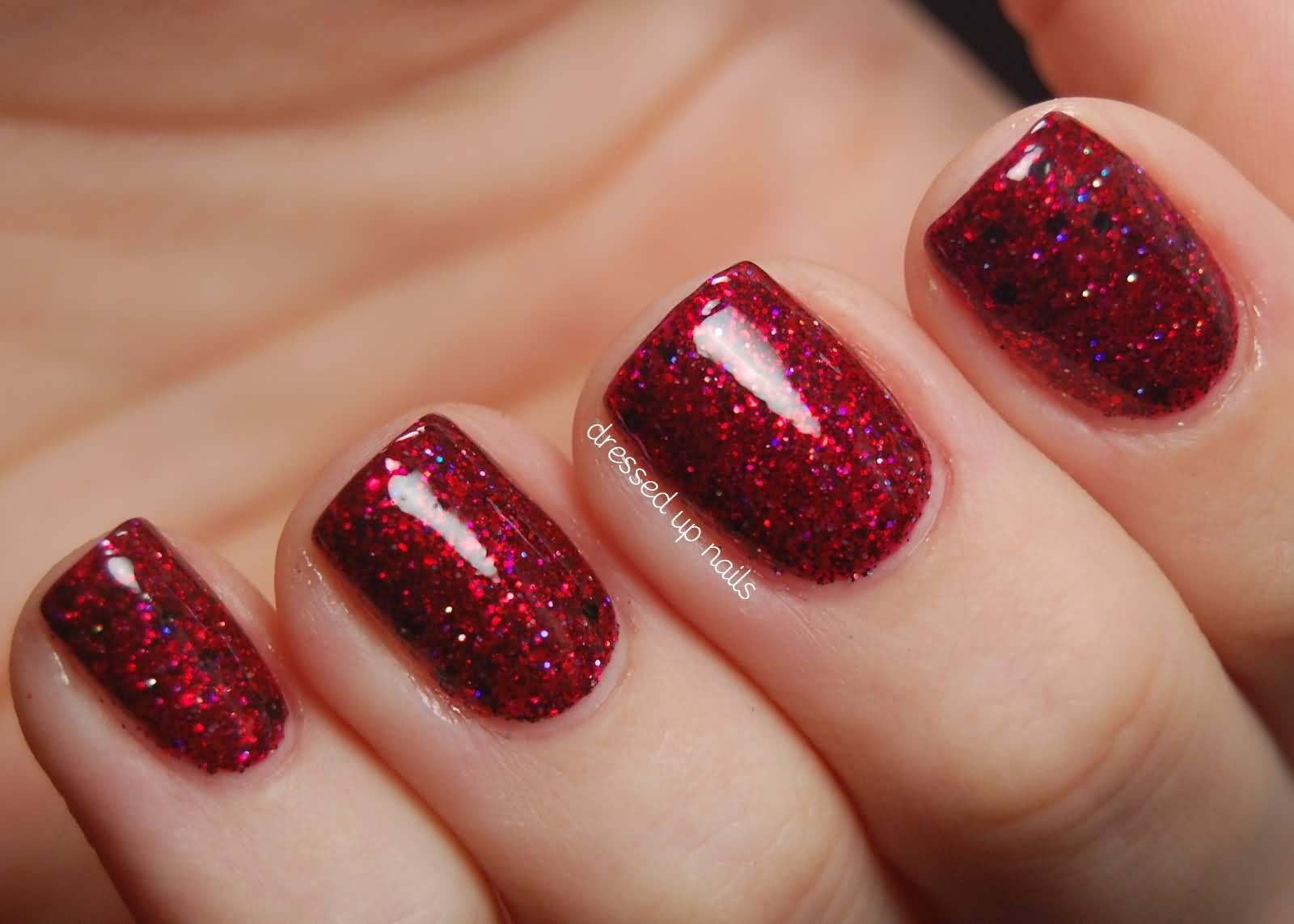 Red Glitter Gel Nail Art Design Idea