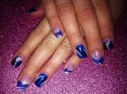 cool royal blue nail art design