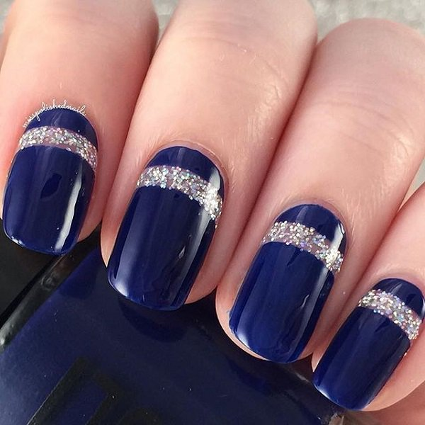 Royal Blue Nails With Silver Glitter Stripes Design