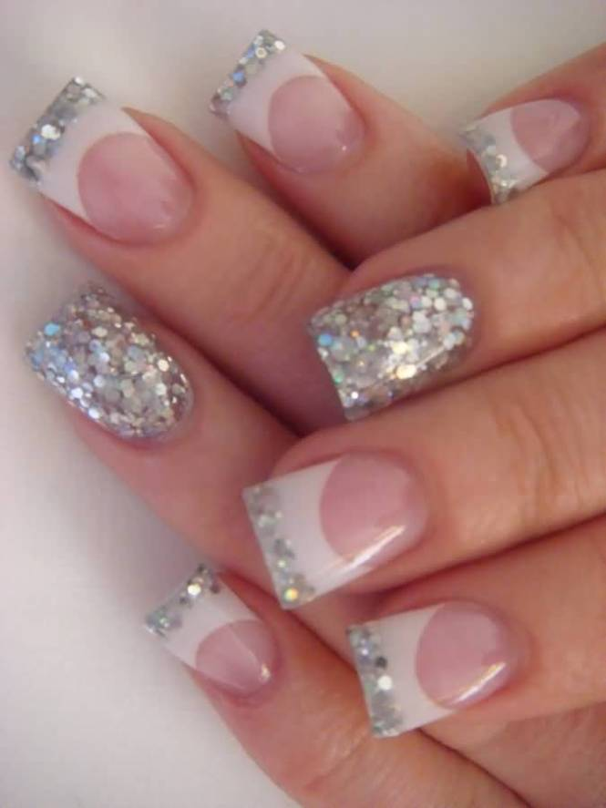 French Tip Glitter Nail Art Design Silver Acrylic Nails