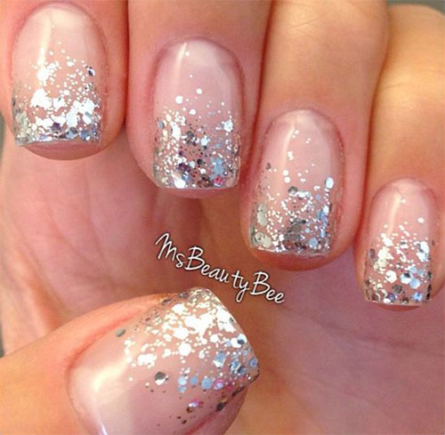 Silver Sparkle Glitter Nail Art On Nails